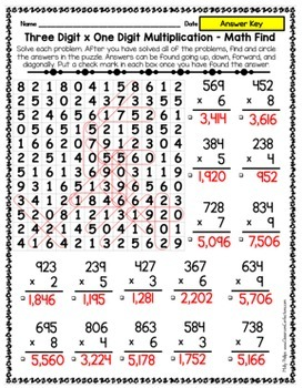 Multiplication Activity: Three digit by one digit multiplication