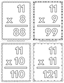 Multiplication Math Flash Cards Color and Doodle