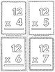 Multiplication Math Flash Cards Color and Doodle Freebie 12's