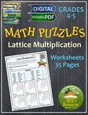 Math Puzzles Lattice Multiplication - Print and Digital Versions