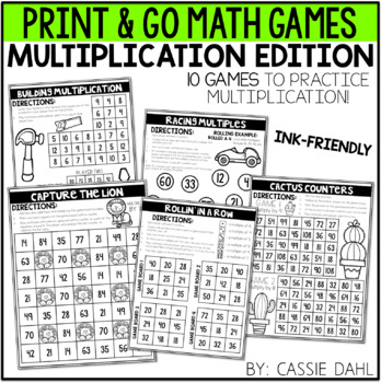 Multiplication Math Games (Print & Go) by Cassie Dahl | TpT