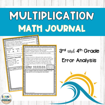Multiplication Math Journal Error Analysis and Problem Solving