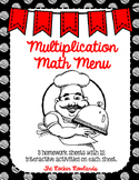 Multiplication Math Menu
