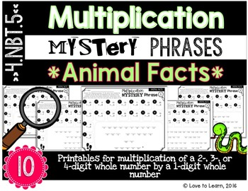 Multiplication Math Mystery Phrases - Animal Facts Version