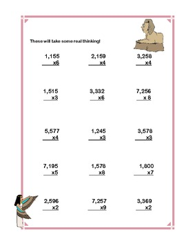 Multiplication Math Review Worksheets Grades 4-5 Ancient Egyptian Theme