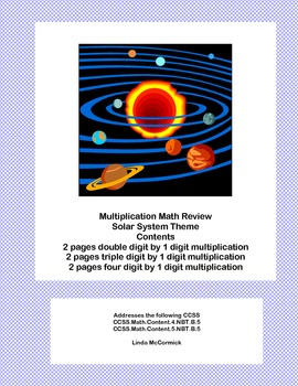 Multiplication Math Review Worksheets Grades 4-5 Solar System Theme