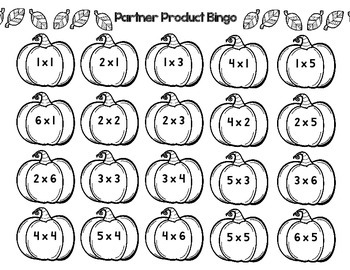 Multiplication Math Stations Pumpkin Products