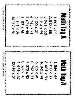 Multiplication Math Tag; 3 digit by 2 digit
