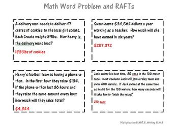 Multiplication Math Word Problems and RAFTs