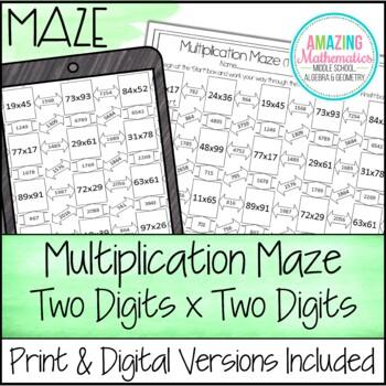 Multiplication Maze Worksheet 2x2 By Amazing Mathematics Tpt