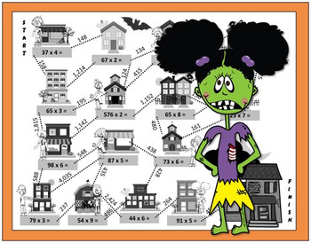 Multiplication Maze ⍨ Halloween Math Activity ⍨ 3rd grade, 4th grade