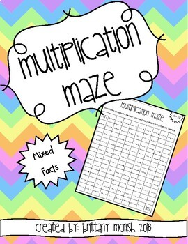 Multiplication Maze Mixed Facts