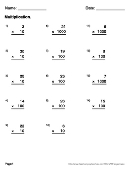 Multiplication Maze (Multiples of 10, 100, and 1000)