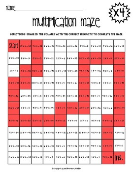 Multiplication Maze x4