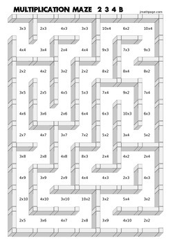Multiplication Mazes 234 456 789