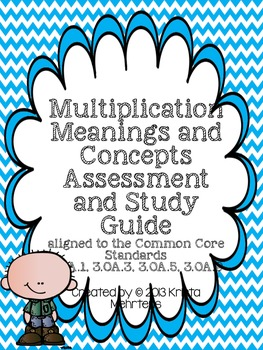 Multiplication Meanings and Concepts Assessment- Common Core aligned