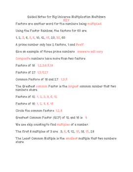 Multiplication Meltdown Guided Notes