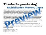 Multiplication Memory Card Game