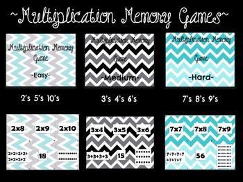 Multiplication Memory Game