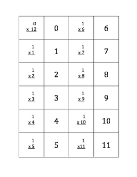 Multiplication Memory Game