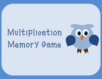 Multiplication Memory Game (Facts 0 to 10)