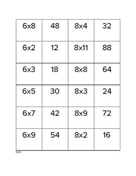 Multiplication Memory Games
