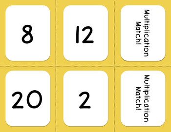Multiplication Memory Match - Game or Center!
