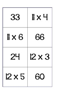 Multiplication Memory - Practicing multiples of 11 and 12