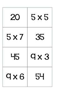 Multiplication Memory - Practicing multiples of 5 and 9