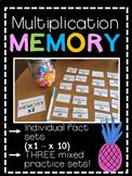 Multiplication Memory (fact fluency practice, sets 1 - 10