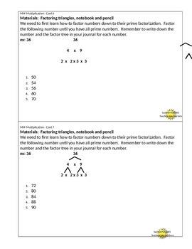 Multiplication Mental Math Center