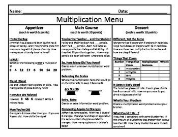 Multiplication Menu 10