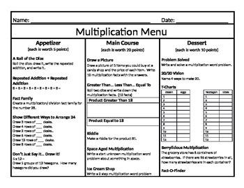 Multiplication Menu 2