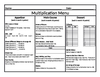 Multiplication Menu 5