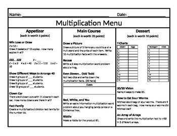 Multiplication Menu 5
