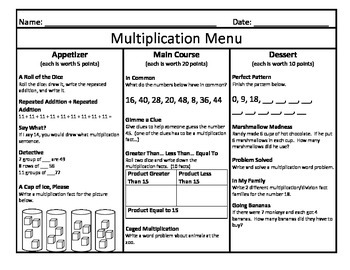 Multiplication Menu 6
