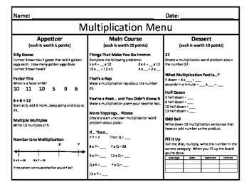 Multiplication Menu 7