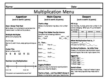 Multiplication Menu 8
