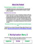 FREE Multiplication Menu - EDITABLE