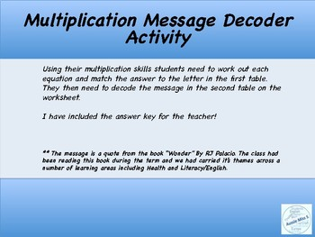 Multiplication Message Decoder Activity
