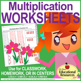 Multiplication WORKSHEETS - Model Multiplying - Great for Classwork or Homework