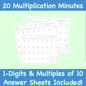Multiplication Minute Worksheets: One Digit Numbers with Multiples of 10