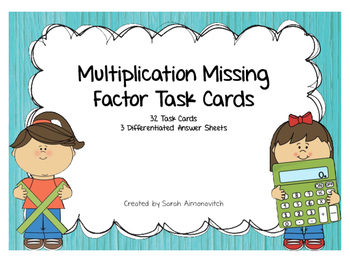 Multiplication Missing Factors Task Cards