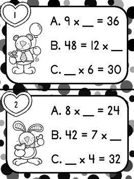 Multiplication Missing Factors Task Cards (color and b/w versions included!)