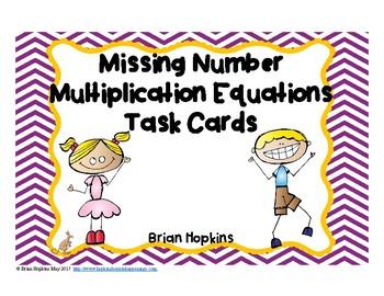 Multiplication Missing Number Equations Task Cards