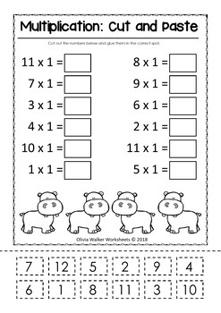 Multiplication (Mixed Order) Cut and Paste Math Worksheets / Printables