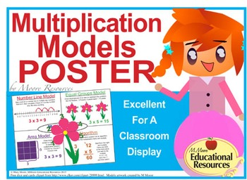 "Multiplication - MATH POSTER - 30.5"" x 23"" - Four Models -"