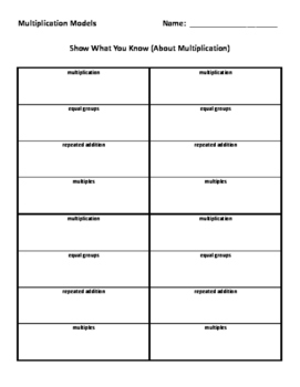 Multiplication Models Worksheet