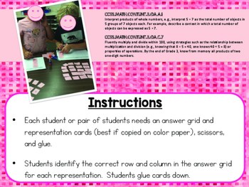 Multiplication Models and Representations Matching Activity FREEBIE