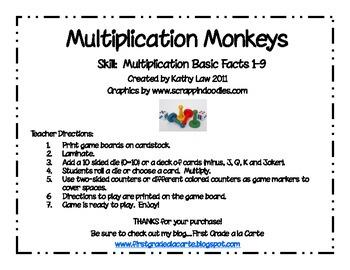 Multiplication Monkeys Games